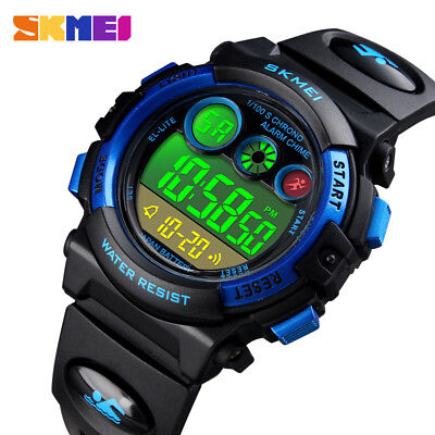For Boy Girl Kids Waterproof Electronic Alarm Calendar Sport Digital Wrist Watch