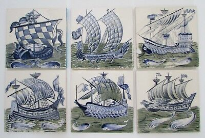 "VTG English Nautical Sailing Ship Tiles Made in England 6"" Set of 6"