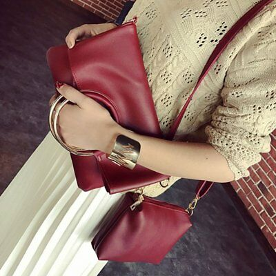 Fashion Large Metal Ring Lady Combo Bag PU Solid Color Combination Bag AGrAZ