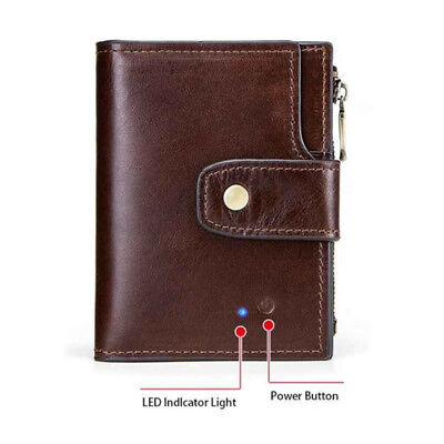 Genuine Leather Bluetooth Smart Wallet Anti Lost Finder GPS Tracker Men Purse