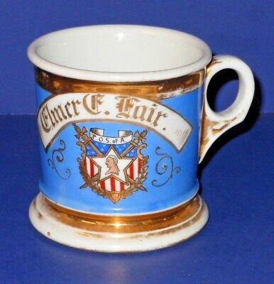 Antique Patriotic Fraternal Shaving Mug P.O.S. of A. - T&V Limoges, Phila Stamp