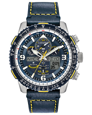 Citizen Promaster SkyHawk AT Chrono Blue Dial Leather Band Mens Watch JY8078-01L