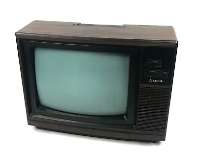 "1987 Mitsubishi MGA CS-1345R Vintage Retro Gaming 13"" TV Simulated Wood Grain"