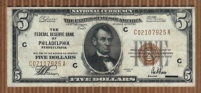 $5 1929 Five Dollar USA National Federal Reserve Bank Note Currency Old 'C' Bill
