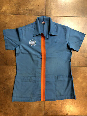 Vintage 80s Walmart Employee Uniform Short Sleeve Shirt Snap Button Up Medium