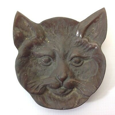 Antique Solid Brass Cat Face Pin Dish