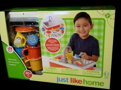 Toys R Us Just Like Home Pretend Play Kitchen Sink W 20pc Dishes Real Water