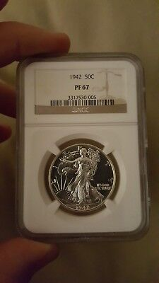 1942 50c NGC PF 67 Walking Liberty Half Dollar; best example in 67. Top quality!