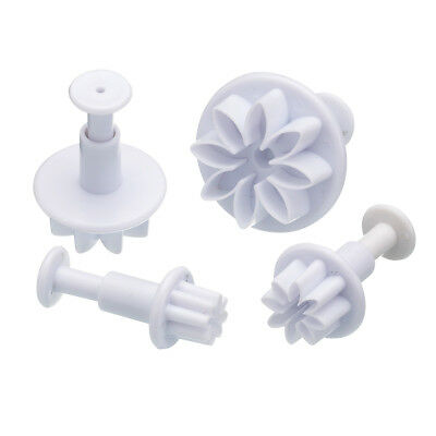 Fondant Cutter Flower 4pc Plunger Press Mould Baking Royal Icing Marzipan NEW