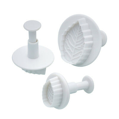 Fondant Cutter Leaf Leaves 3pc Plunger Press Mould Baking Royal Icing Marzipan
