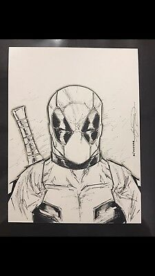 DEADPOOL ORIGINAL ART SKETCH 9x12 BY ADELSO CORONA / ROB LIEFELD CHARACTER