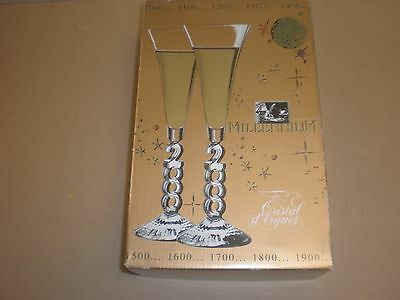 one set of 2 Cristal d'Arques Millennium Champagne glasses VALENTINE'S DAY 2000