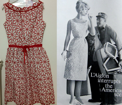 original L'Aiglon 60s vintage dress red and white embroidered floral medium size