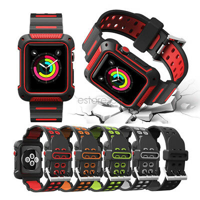 Sport Silicon Apple Watch Band Series 5 4 44mm With Rugged Protective Case