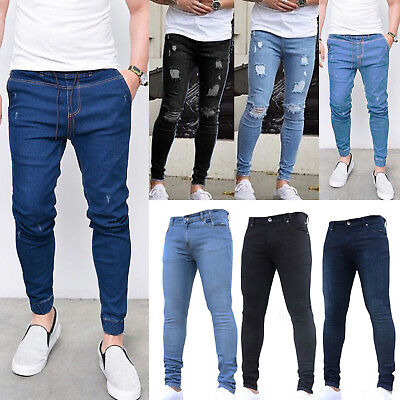 d184952d98f Mens Denim Jeans Distressed Ripped Stretch Slim Fit Skinny Casual Pants  Trousers