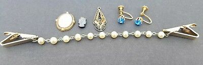 VINTAGE LOT JEWELRY Cameos, Earrings, Sweater Clips with Pearls Antique Trinkets