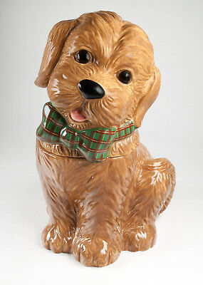 Neiman Marcus Labradoodle YUYU Cookie Jar Christmas or All Year Adorably Sweet