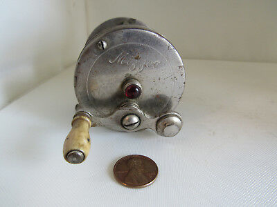 Antique Vintage Mizzoo Metal Small Brass Trout Casting Reel Spins 80 Yard Jewel
