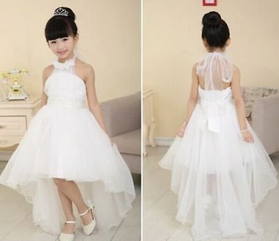 Kids Princess Baby Flower Girl Dress Lace Backless Party Gown Bridesmaid Dresses