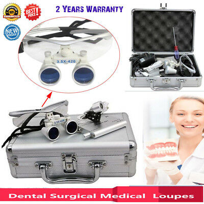 3.5x 420mm Dental Surgical Medical Loupes Binoculars +LED Head Light Lamp+ Box