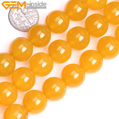 """Natural Gemstone Yellow Agate Round Loose Beads For Jewellery Making 15"""" UK"""