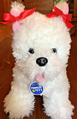Build A Bear Promise Pet White Westie Yorkie Dog Plush W Red Collar