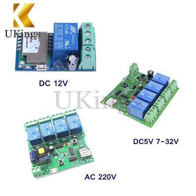 1/4 Channel DC/AC 5V/12V/220V WiFi Wireless Relay Switch Control For Smart Home