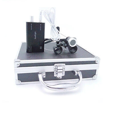 Dental Binocular Loupes 2.5X with 1W LED Headlight Lamp+Aluminum Box Black