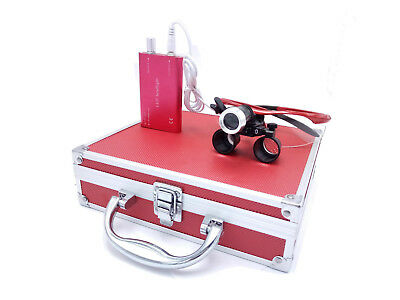Dental Binocular Loupes 2.5X with 1W LED Headlight Lamp+Aluminum Box Red