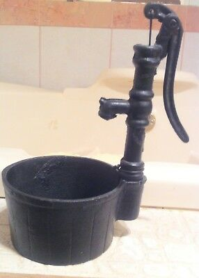 "Cast Iron Water Pump 8 3/4"" Art Deco Well 4 1/2"" Handle Tub Bath Fixture Display"