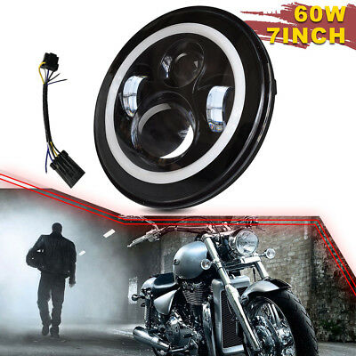 """7"""" Headlight LED Headlamp Passing Lights Fit Jeep Harley Electra Street Glide"""