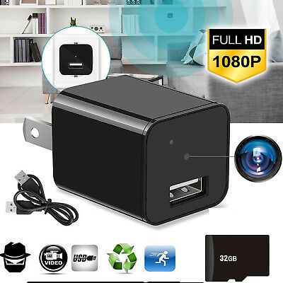 1080P Spy Hidden Camera Adapter Wall Charger Video Recorder Motion Detection Cam
