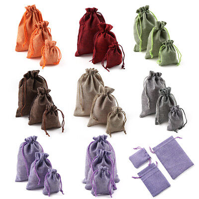 10X Jute Gift Bags Hessian Burlap Drawstring Pouch Wedding Favours Christmas