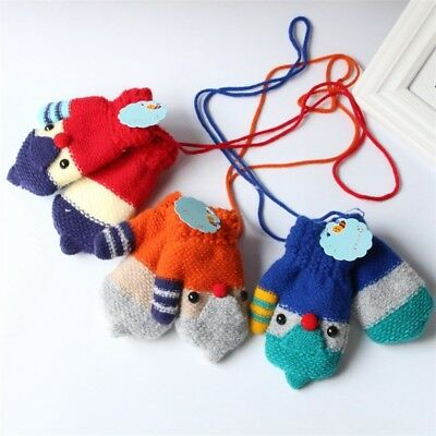 Thick Double Layer Warm Cartoon Baby Mittens Cuffed Knitted Gloves Neck String