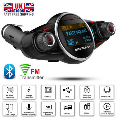 "Wireless Handsfree Car Kit Bluetooth FM Transmitter 1.3"" LCD MP3 Player Charger"