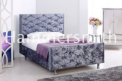 Double Crushed Velvet Fabric Upholstered Bed Frame Diamante Black Silver Mink