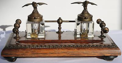 eagle  Cut Glass Inkwells with a gilt bronze stand