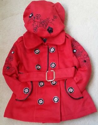 384b1d9cf Baby Girls Kids Padded Red Belted Fur Lined Jacket Hat Coat Thick Winter  Warm