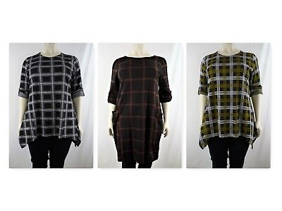 22c4bff11a Check Print Roll Tab Sleeve Tunic With Side Pockets