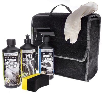 E-Tech 6pce Wheel Cleaner, Tyre Gel & Body Wash Wax Car Valeting Kit - GIFT IDEA