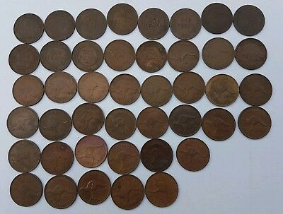 Australian One Penny Bulk Lot - 43 coins - All Different Dates 1916-1964