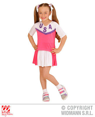 Girls American Cheerleader Costume United States America Usa Fancy Dress Outfit