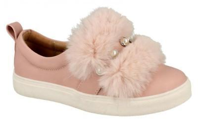 SPOT ON H2R456 Girls Dusky Pink Casual Fluffy Pearl Pumps
