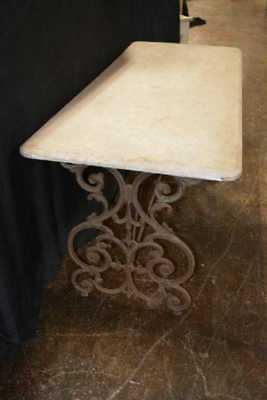 19th Century Marble and Iron French Table France Garden Architectural
