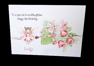 Handmade Personalised Birthday Card Granddaughter Daughter Sister Any Age Name