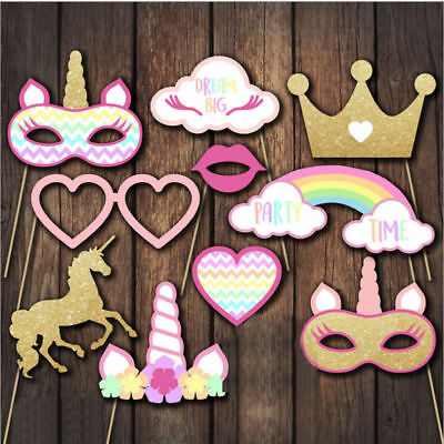 10x Rainbow Unicorn Pegasus Photo Booth Props Kit Party Camera Props Decorations