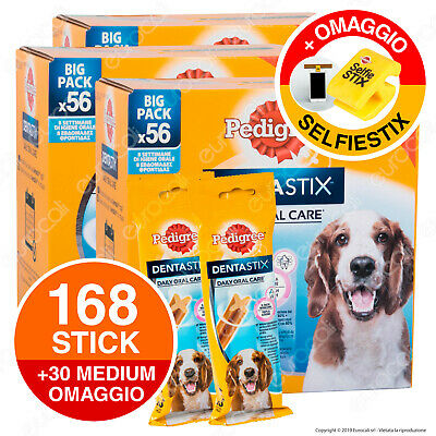Pedigree Dentastix Medium per l'igiene orale del cane - 3 Confezioni da 56 Stick