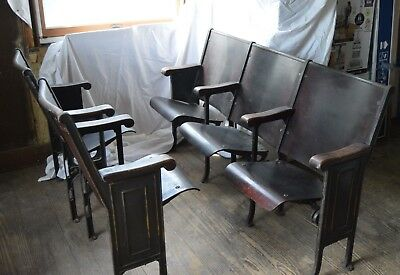 Five Wood and Cast Iron Theater Chairs Vintage Early 1900s