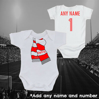 Manchester Football Scarf & Personalised Baby Grow Vest, Gift, United