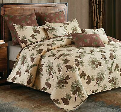RUSTIC FOREST PINECONE COUNTRY CABIN WILDLIFE PINE TREE WOODS T/FQ/K Quilt Set